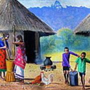 Village Chores Art Print