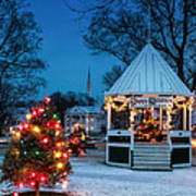 Village Green Holiday Greetings- New Milford Ct - Art Print