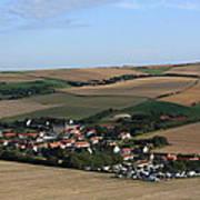 Village In A French Landscape  Art Print