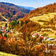 Village In The Valley Art Print