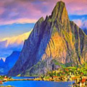 Village On The Naeroyfjord Norway Art Print