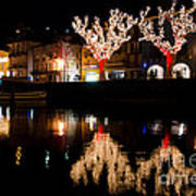 Village Reflected In The Water Art Print