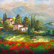 Village With Poppy Fields  Art Print