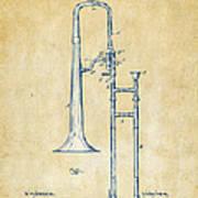 Vintage 1902 Slide Trombone Patent Artwork Art Print