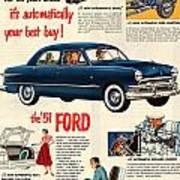 Vintage 1951 Ford Car Advert Art Print