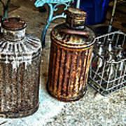 Hdr Vintage Art  Cans And Bottles Art Print