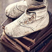 Vintage Baby Boots And Books Art Print