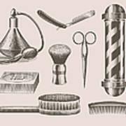 Vintage Barbershop Objects Art Print