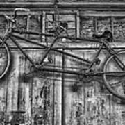 Vintage Bicycle Built For Two In Black And White Art Print