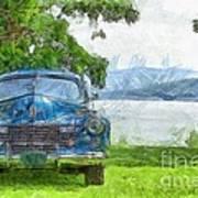 Vintage Blue Caddy At Lake George New York Art Print