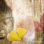 Vintage Buddha And Ginkgo Art Print