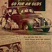 Vintage Car Advertisement 1939 Oldsmobile On Worn Faded Paper Art Print