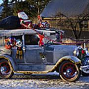 Vintage Christmas Car Art Print
