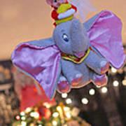 Vintage Christmas Elf Flying With Dumbo Art Print