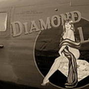 Vintage Diamon Lil B-24 Bomber Aircraft Art Print