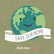Vintage Earth Day Poster. Cartoon Earth Art Print