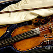 Vintage Fiddle In The Case Art Print