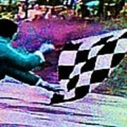 Vintage Formula 1 Race Checkered Flag  Art Print