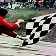 Vintage Formula Race Checkered Flag Art Print