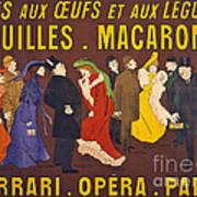 Vintage French Paris Opera Pasta Poster Art Print
