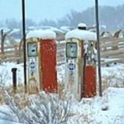Vintage Gas Pumps Art Print