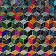 Vintage Geometric Cubes Art Print