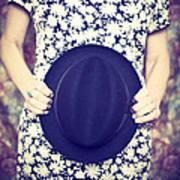 Vintage Hat Flower Dress Woman Art Print