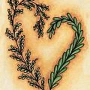 Vintage Heart Wreath Art Print