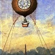 Vintage Hot Air Balloon Over Eiffel Tower Art Print