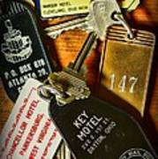 Vintage Hotel Keys Art Print