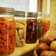 Vintage Jars On A Kitchen Window Art Print