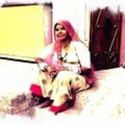 Vintage Just Sitting 2 - Woman Portrait - Indian Village Rajasthani Art Print