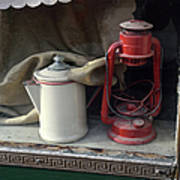Vintage Kerosene Lamp And Vintage Art Print