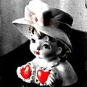 Vintage Lady Head Vase - Black And White With Red Art Print