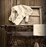 Vintage Laundry Room In Sepia Art Print