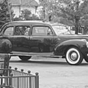 Vintage Lincoln Limo Black N White Art Print