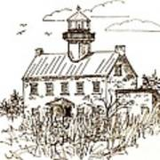 Vintage Lines Of East Point Lighthouse Art Print