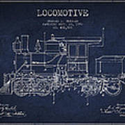 Vintage Locomotive Patent From 1892 Art Print