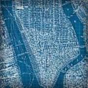 Vintage Manhattan Street Map Blueprint Art Print