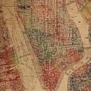 Vintage Manhattan Street Map Watercolor On Worn Canvas Art Print