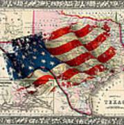 Vintage Map Of Texas 2 Art Print