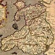 Vintage Map Of Wales 1633 Art Print
