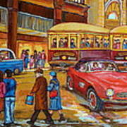 Vintage Montreal-st.catherine And Union-couples And Streetcars Art Print