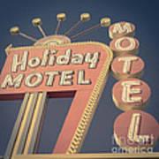 Vintage Motel Sign Holiday Motel Square Art Print