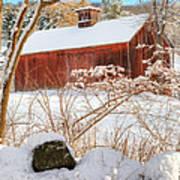 Vintage New England Barn Portrait Square Art Print
