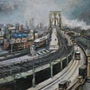 Vintage New York City Brooklyn Bridge Art Print