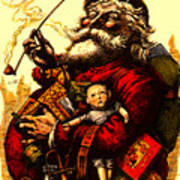 Vintage Original Coca Cola Red Santa Claus Poster Art Print