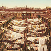 Vintage Photo Of Washing Day In New York City 1900 Art Print