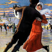 Vintage Poster Couples Skating At Christmas On Frozen Pond Art Print
