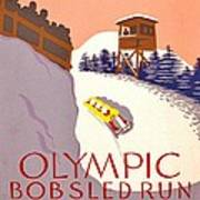 Vintage Poster - Olympics - Lake Placid Bobsled Art Print
